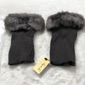 Faybox faux fur short gray leg warmers